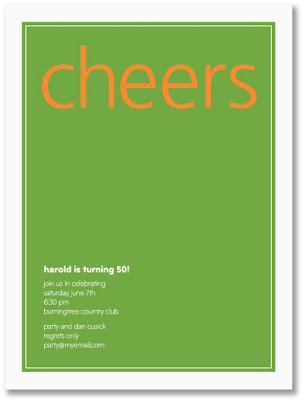 Prentiss Douthit Green with Orange Cheers Birthday Party Invitations