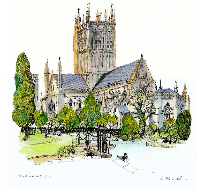 13-UK-Wells-Cathedral-Chris-Lee-Charming-Architectural-wobbly-Drawings-and-Paintings-www-designstack-co