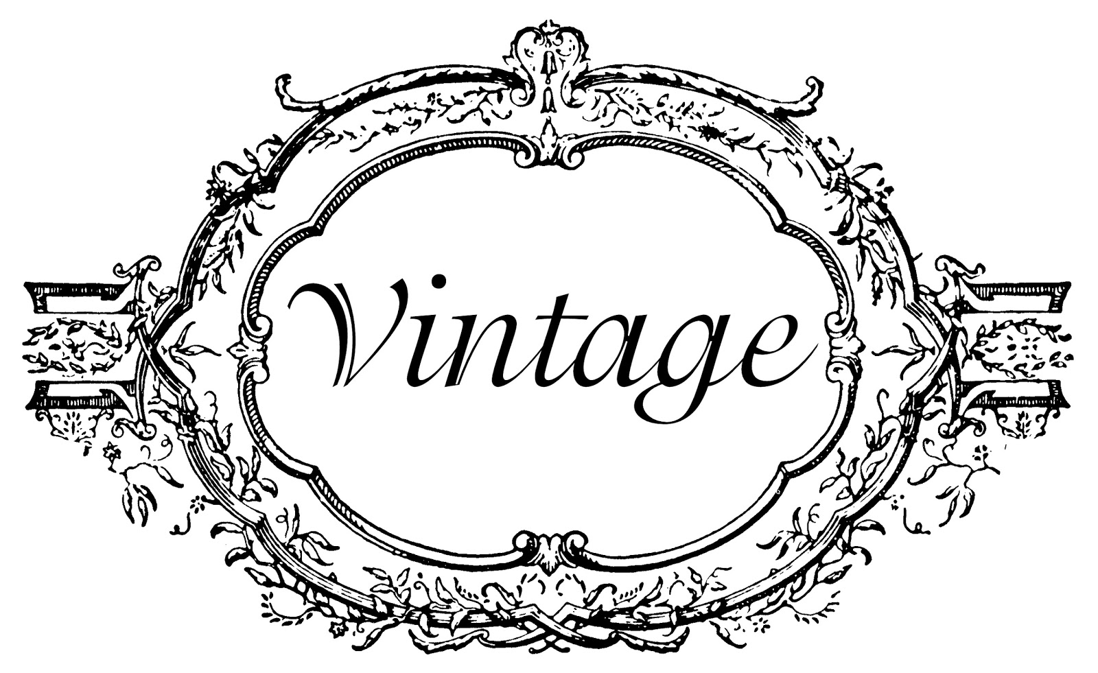 Vintage oval frame and wreath