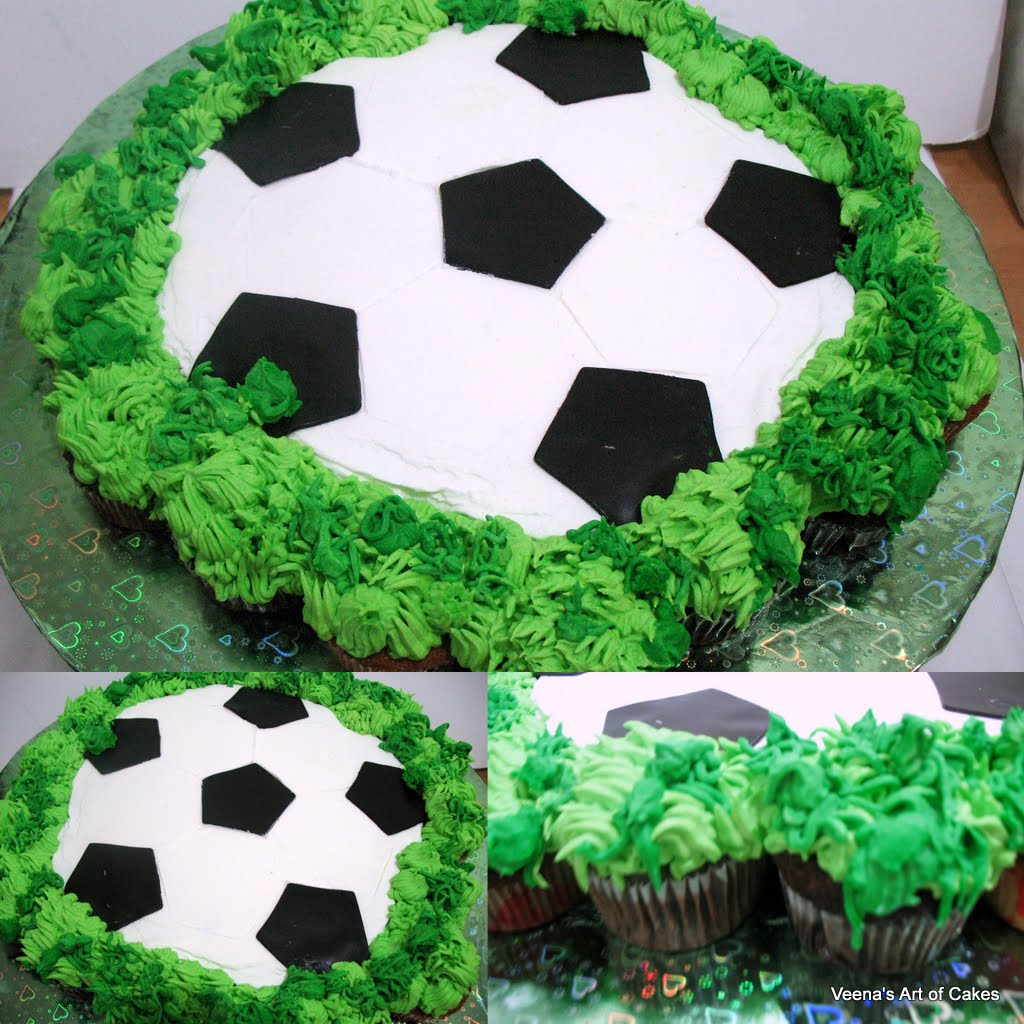 Pull-a-part Cupcake Soccer Ball cake - Veena Azmanov