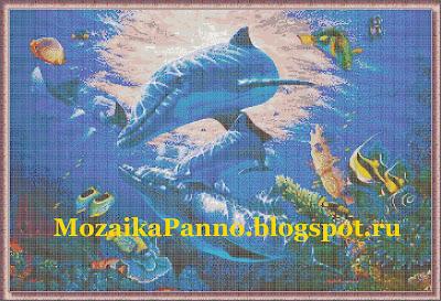 Картина из стеклянной мозаики «Дельфины»