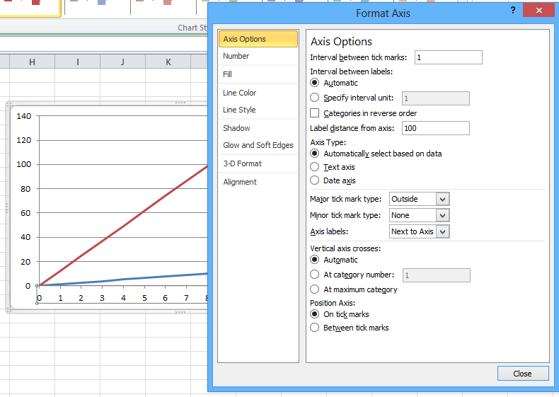 how to choose x and y axis in excel mac