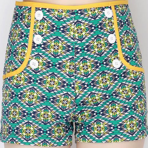 Aztec High Waist Button Front Shorts