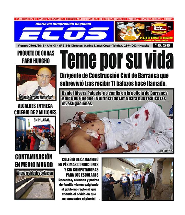 Esta es la edición del Diario ECOS viernes 05 de junio del 2015