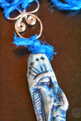 Tribal Dance: polymer clay art bead, silver wire, sari, ooak necklace :: All Pretty Things