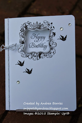 Single-layer black and white birthday card made with Elementary Elegance stamp set.