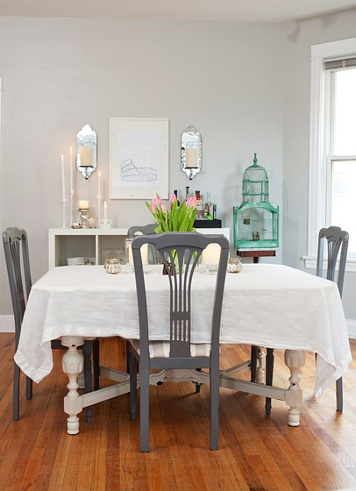 beautiful and simple white and grey dining room