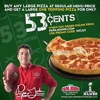 papa johns buy one large pizza get one for 53 cents