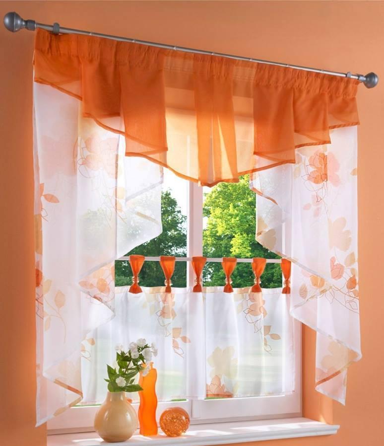 Как на кухне длинные шторы сделать короткими