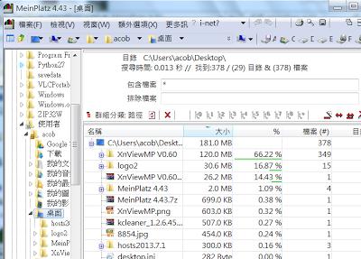 檢視系統中哪些資料夾佔用了硬碟空間,MeinPlatz V4.66 多國語言綠色免安裝版!