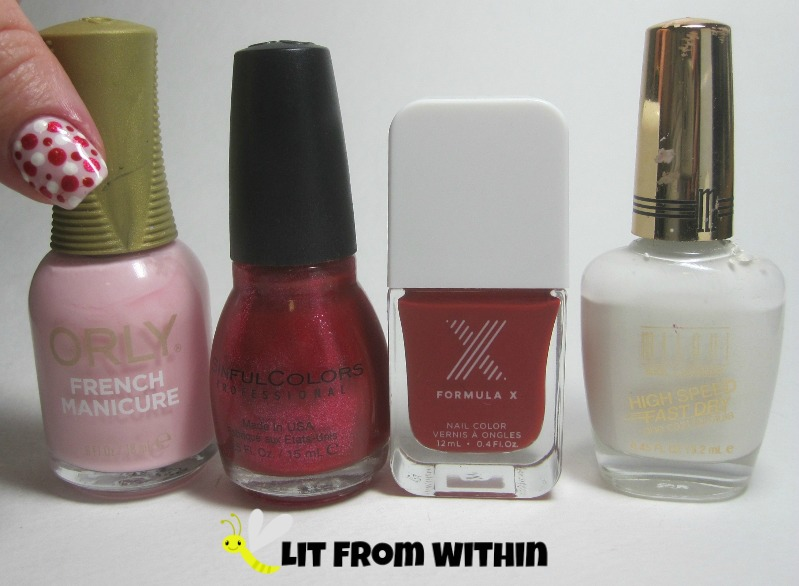 Bottle shot:  Orly Flirty Girl, Sinful Colors Red Eye, SephoraX X hearts Rouge, and Milani White On The Spot.