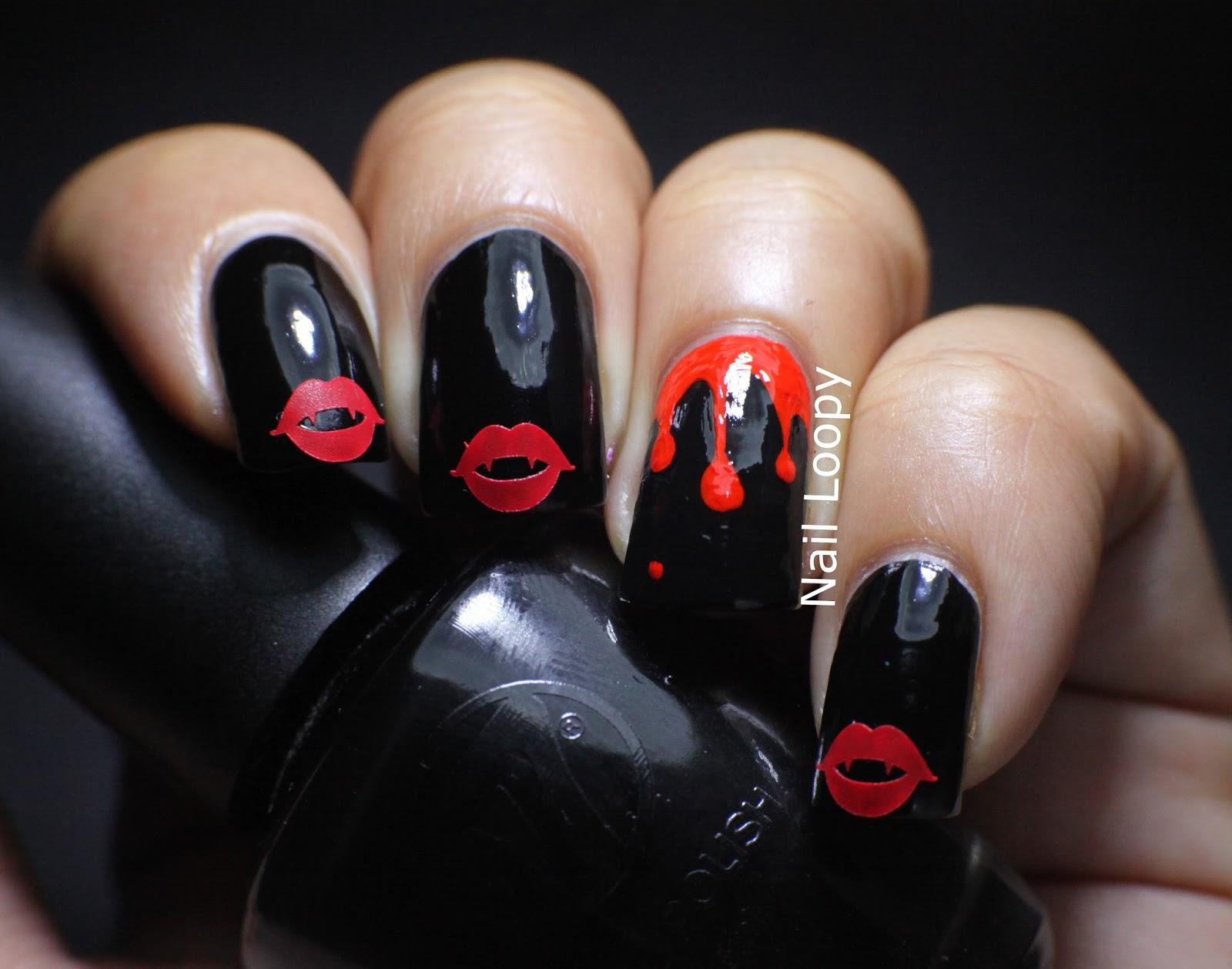 nail loopy: VAMPIRE LIPS NAIL VINYL HALLOWEEN NAILS