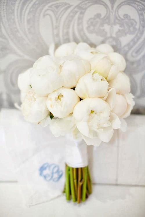 perfect white peony bouquet