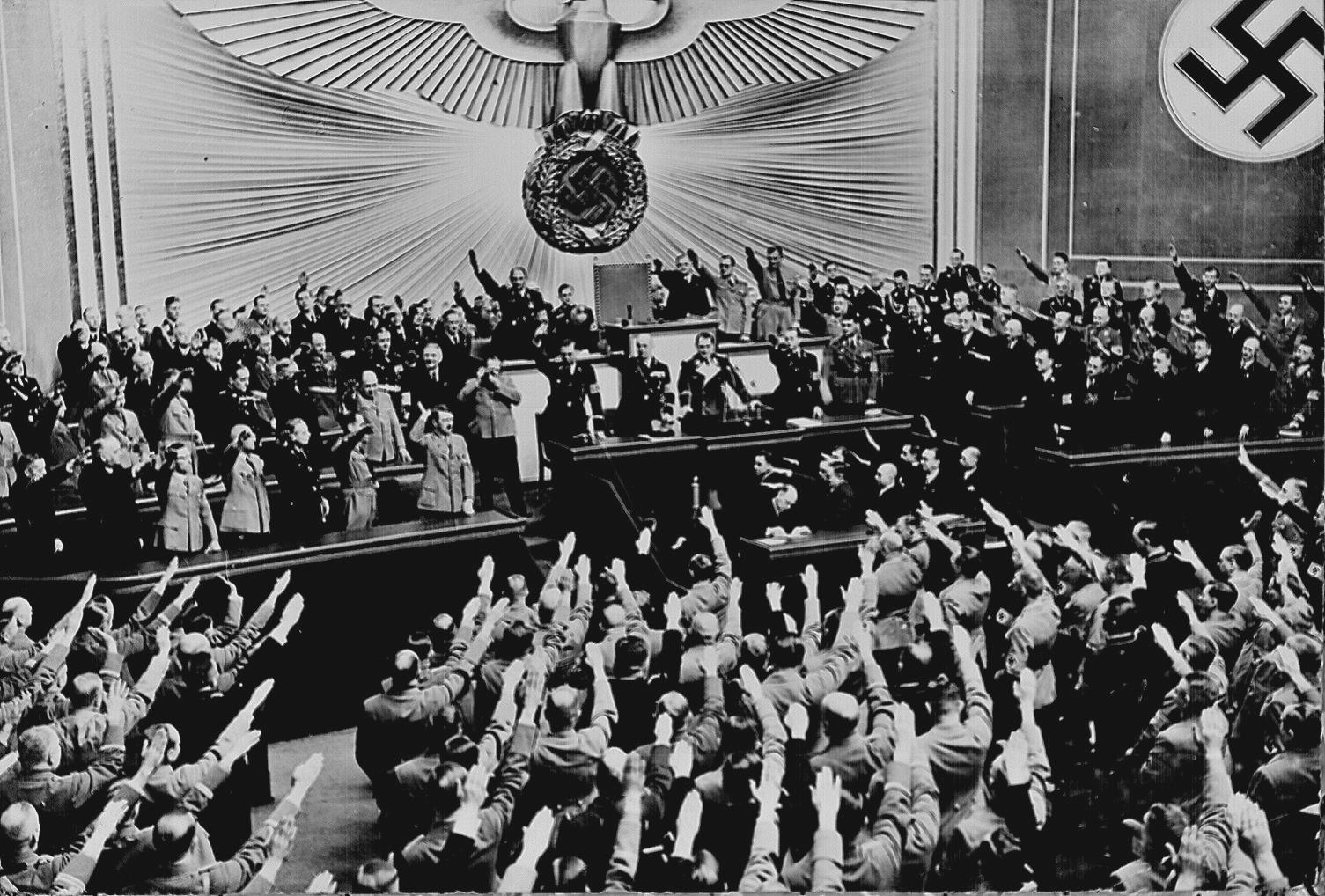Ovation for Hitler in the Reichstag after announcing the successful Anschluss - March 1938