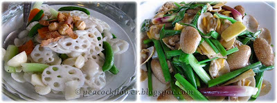 Stir-fried lotus root with cashew nuts, lala clams with ginger and spring onions