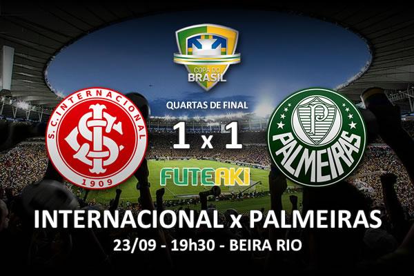 Veja o resumo da partida com os gols e os melhores momentos de Internacional 1x1 Palmeiras pelas quartas de final da Copa do Brasil 2015.