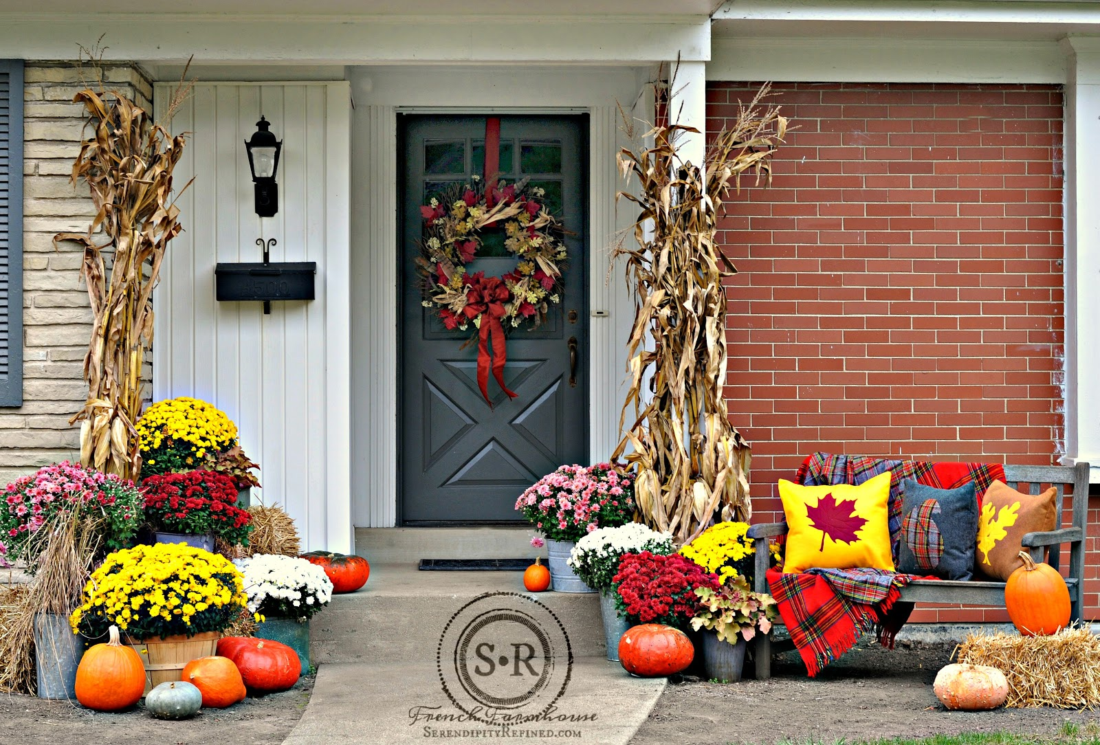 Serendipity Refined Blog Red Yellow And Gray Fall Porch Decor