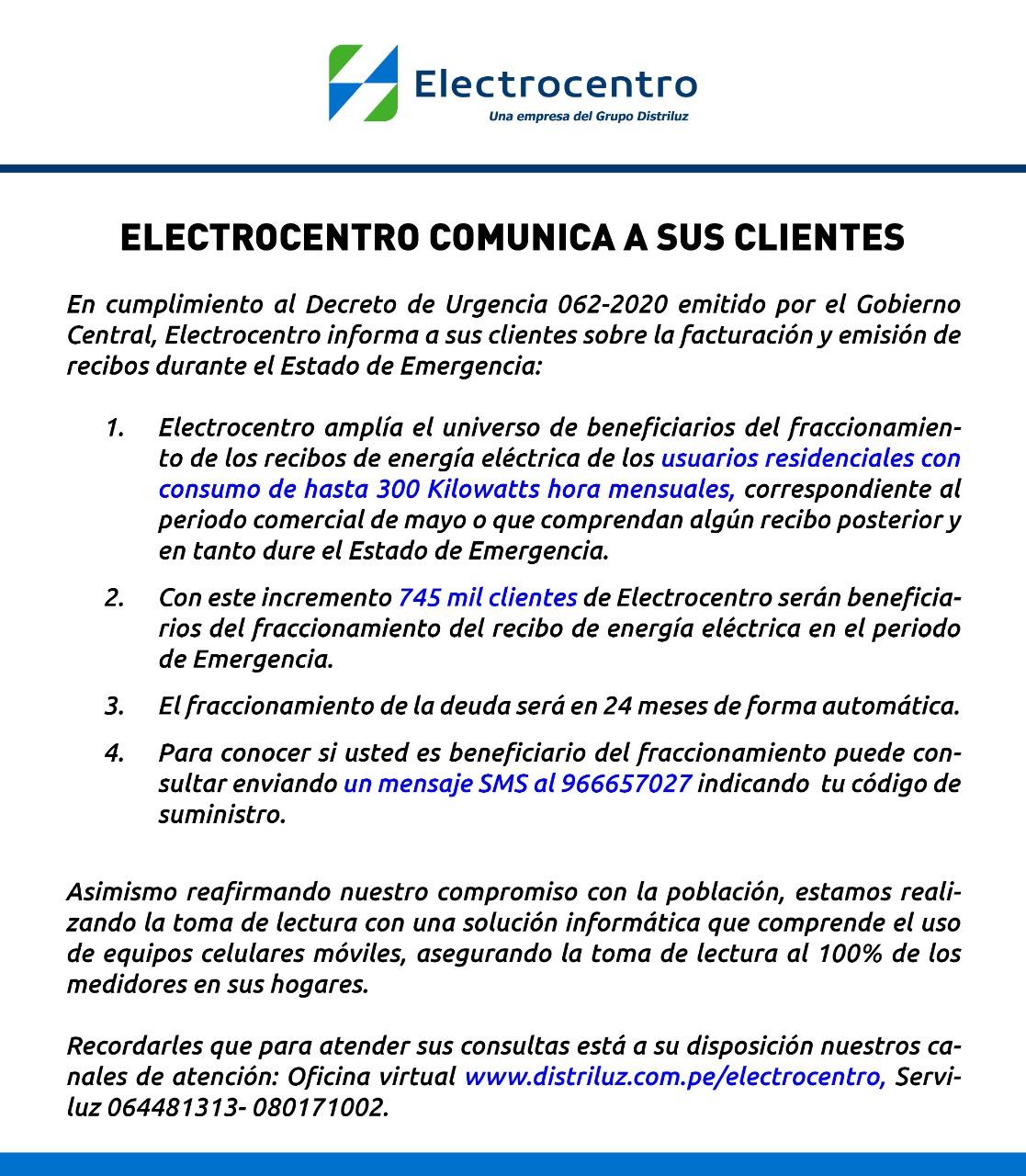 COMUNICADO ELECTROCENTRO