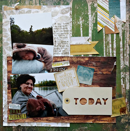 Fishing scrapbook layout