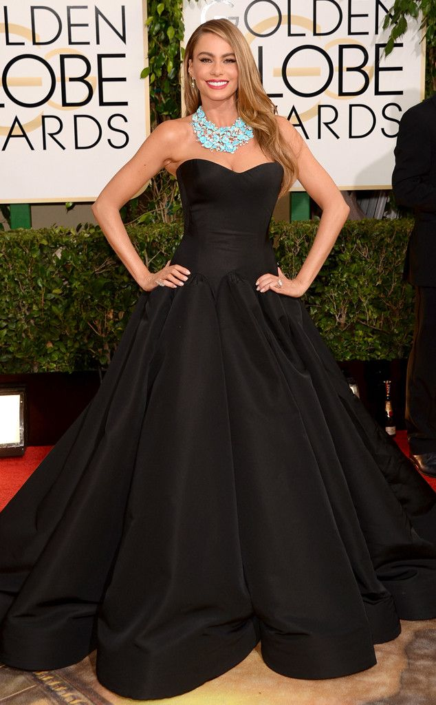 Sofia Vergara in a black Zac Posen dress at the 2014 Golden Globe Awards