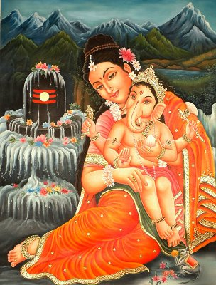 Lord Ganesh With His Mother Parvathi Devi