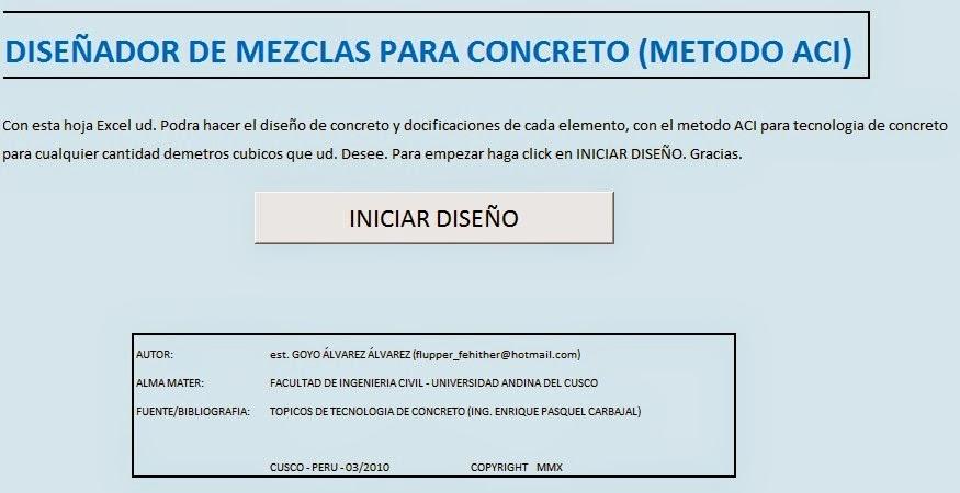 Dise ador de mezclas para concreto m todo aci for Mezcla de hormigon
