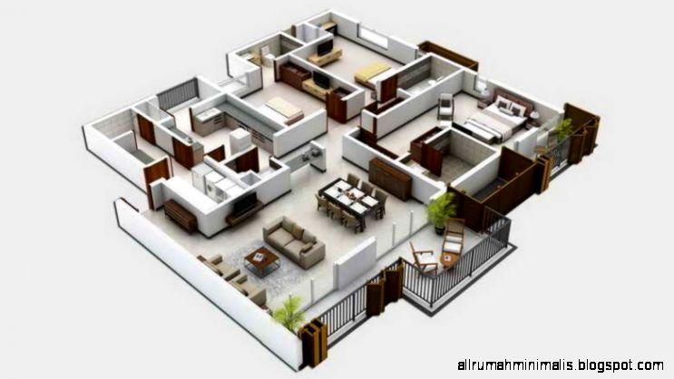 Desain Rumah Minimalis 1 Lantai Dengan 3 dan 4 Kamar Tidur