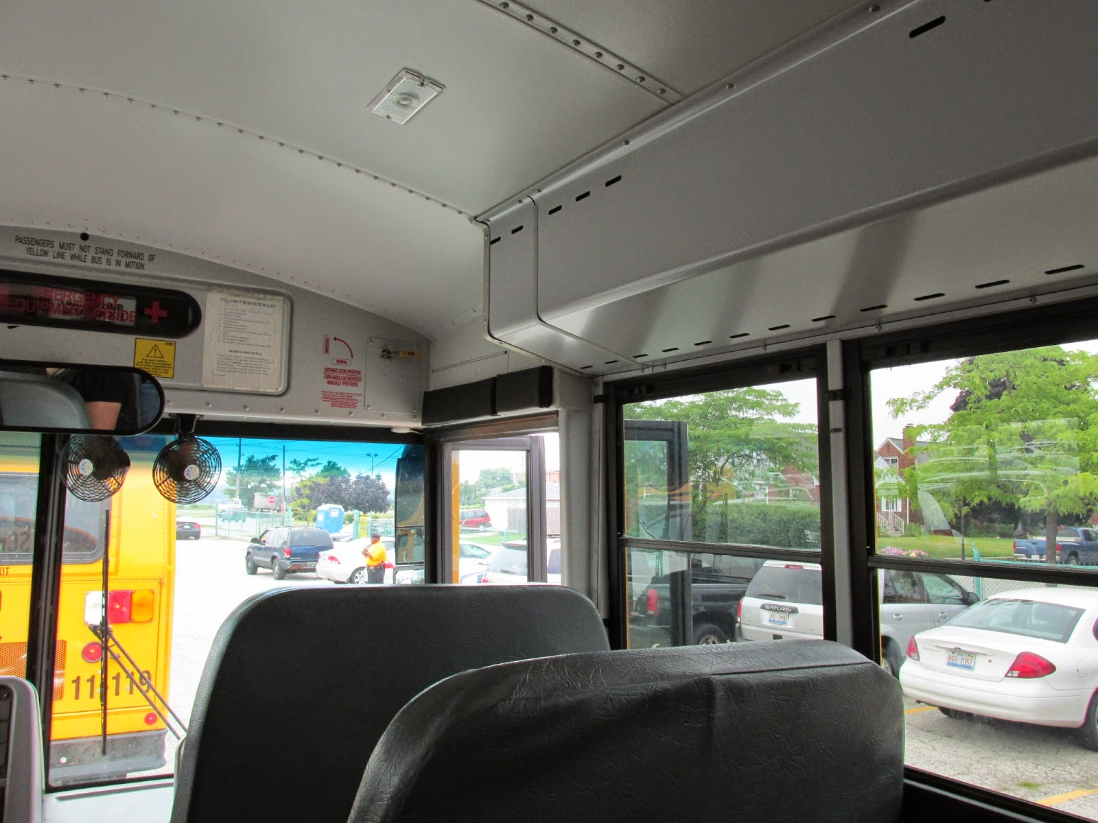 Interior Photograph Taken Inside A Modern Thomas Built School Bus. Whiting  Indiana. July 2014.