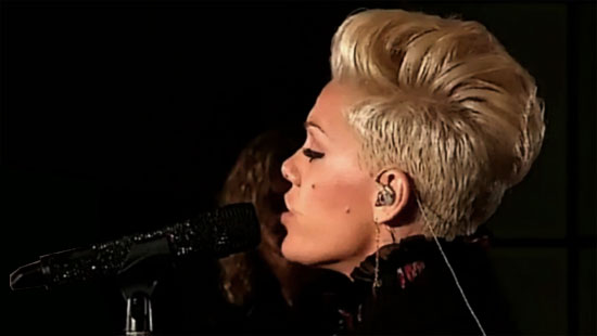 pink singing at BBC live lounge