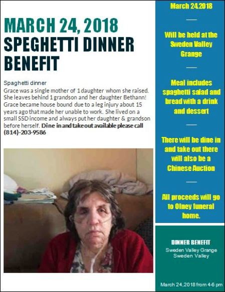 3-24 Spaghetti Dinner Benefit For Grace Peterson