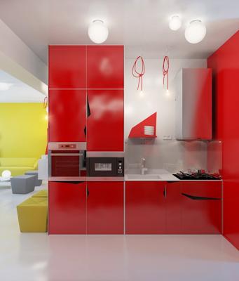 cocina apartamento pequeño color rojo