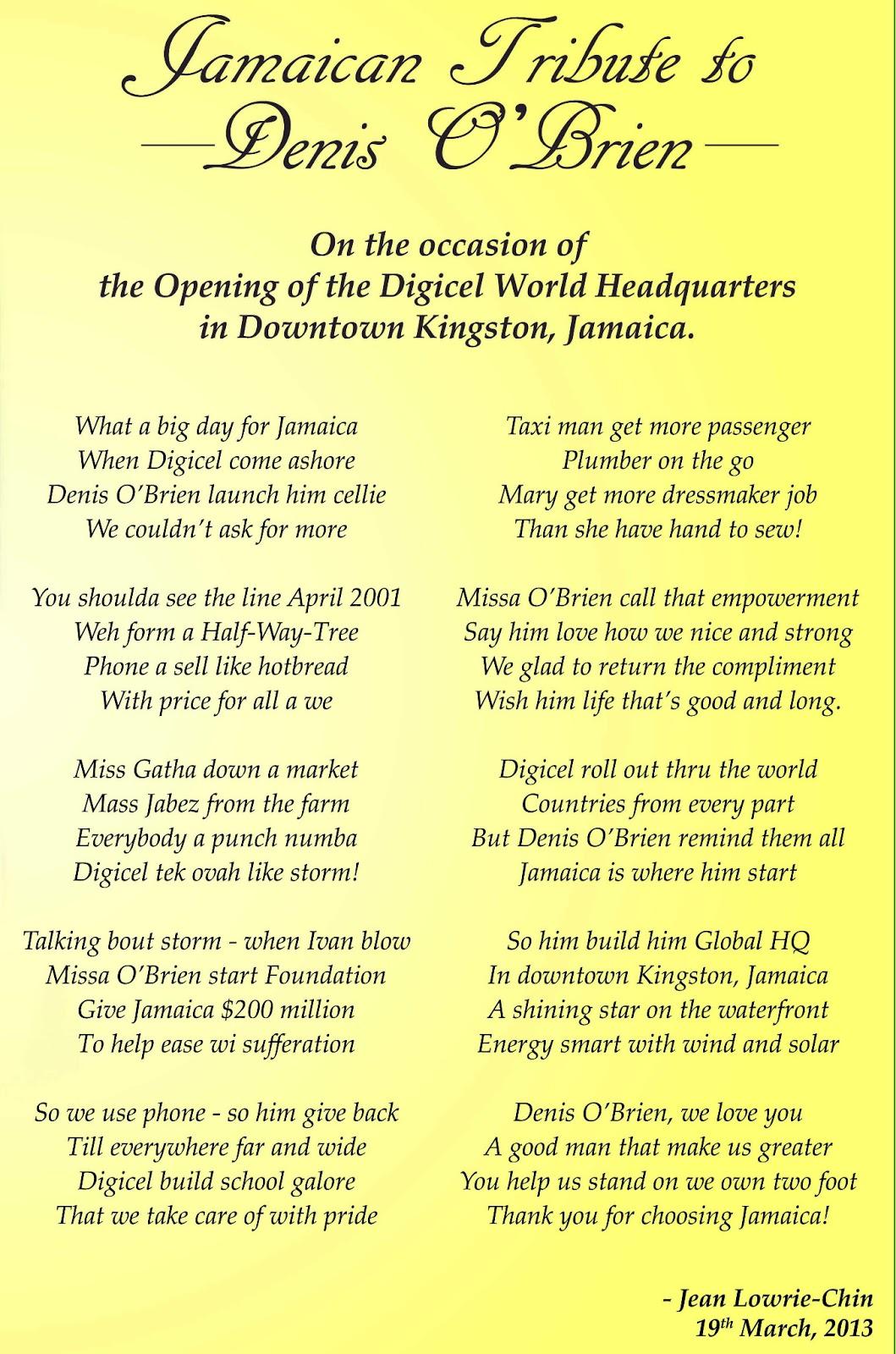 Jamaican Tribute To Denis Obrien