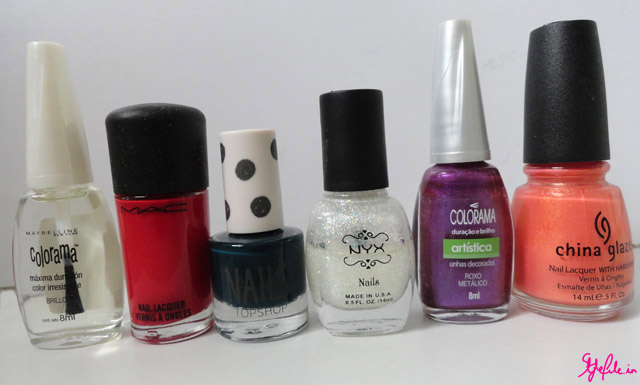 nail varnish,colorama,MAC,Topshop,NYX,China Glaze