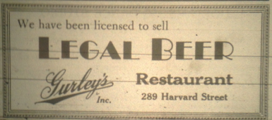 "Chronicle ad for ""Legal Beer"" at Gurley's Restaurant, April 13, 1933"
