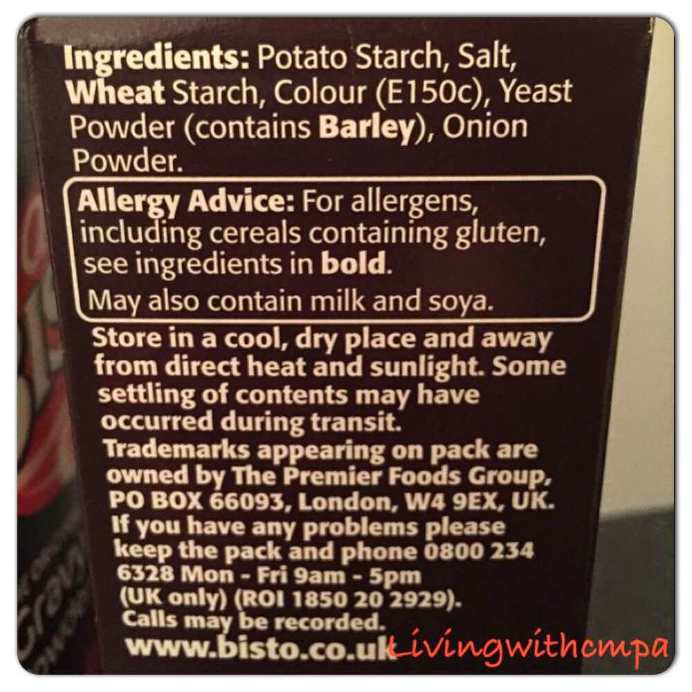 Bisto gravy powder contains barely and is now a may contain milk and soya