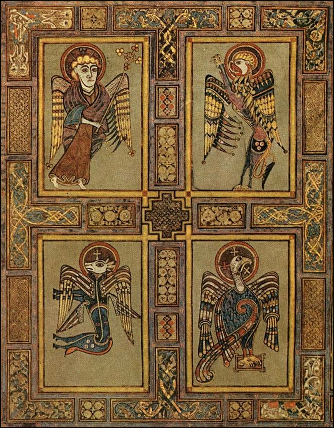 The text of the gospels the evangelists symbols man lion ox the symbols of the evangelists in the exquisite book of kells fol 27v at trinity college dublin biocorpaavc Image collections