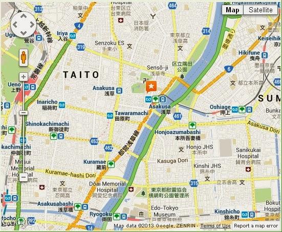 Detail Asakusa Kannon Temple or Sensoji Temple Tokyo Location Map