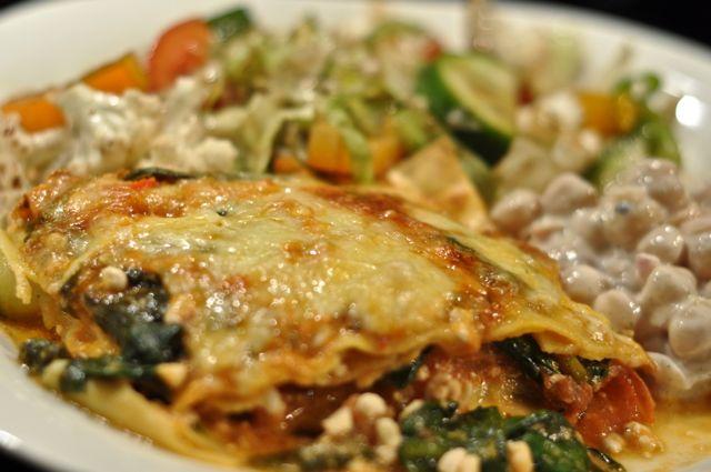 vegetarisk lasagne linser spenat