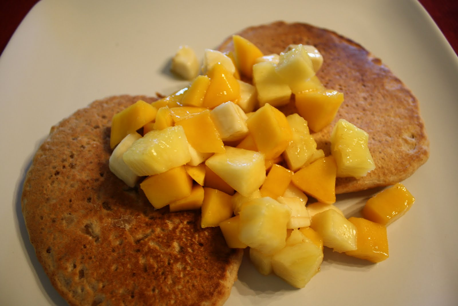 Lactose-Free Girl: Spiced Coconut Pancakes with Tropical Fruit