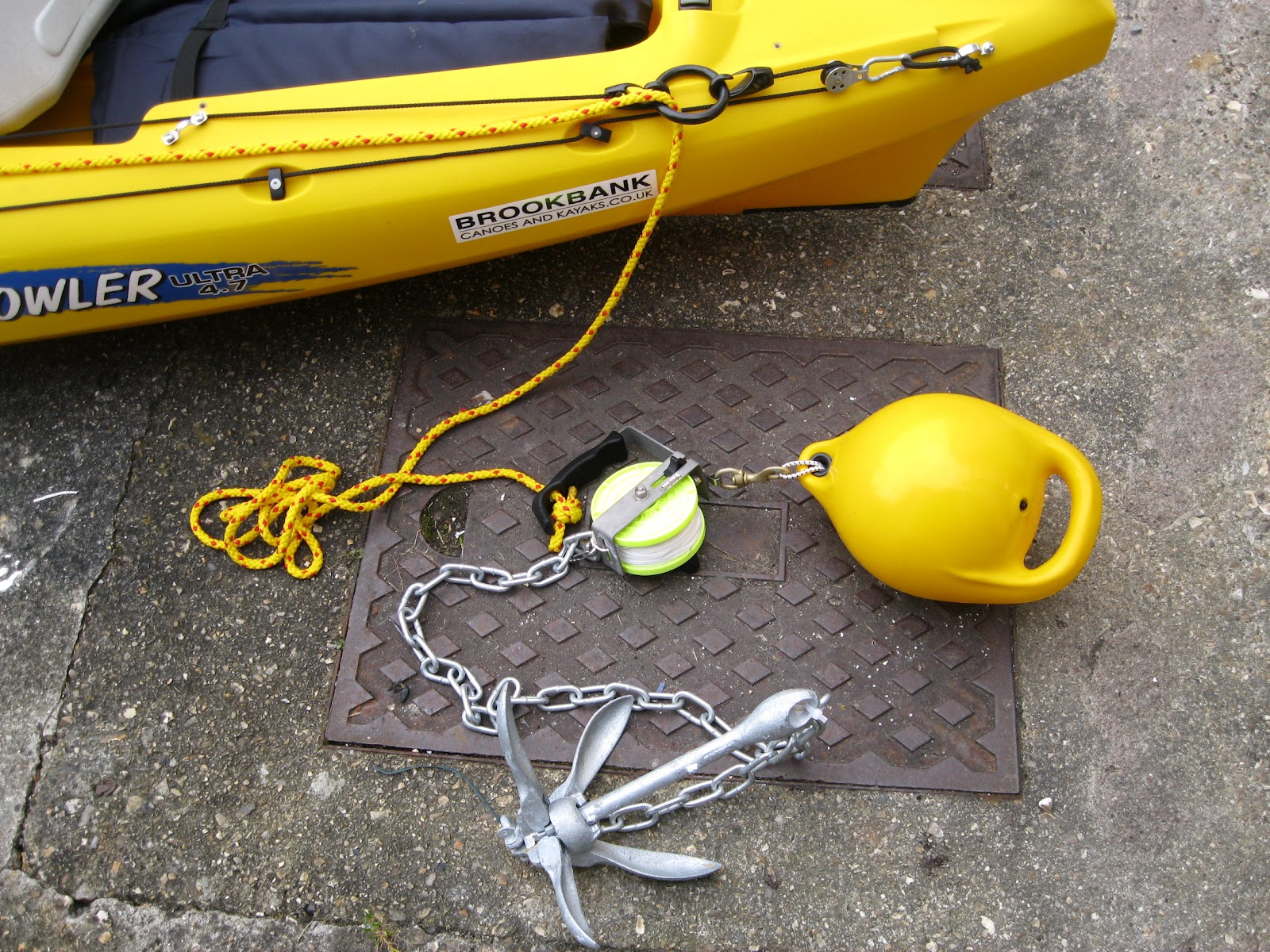 South west kayak fishing anchor trolley set up for Fishing canoe setup
