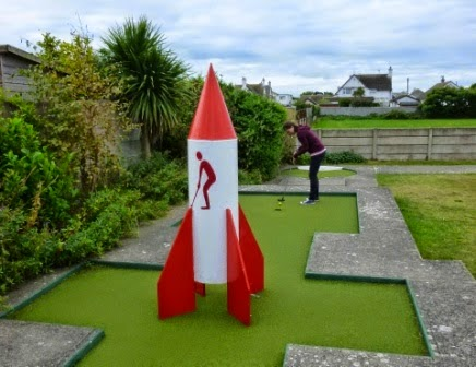 Emily Gottfried putting her way to victory in the Holiday on the Buses Pro Minigolf Championship at the Central Beach Crazy Golf course in Prestatyn in September