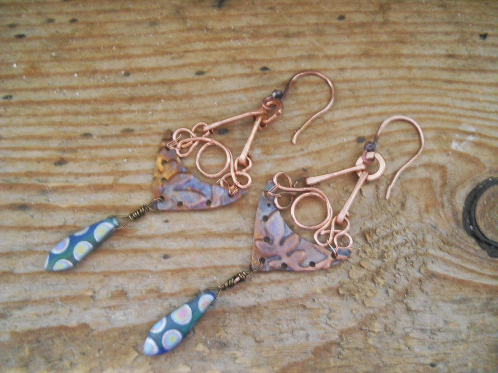 flame painted copper shield earrings
