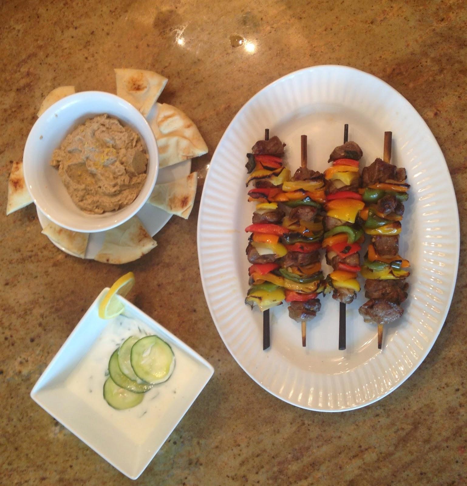 Our Lamb Shish Kebab, Cucumber & Mint Yogurt Dip, and Baba Ganoush ...