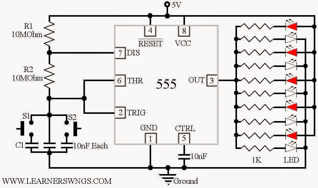 beautiful running led animated demo   circuit using 555 in astable mode  u00ab funny electronics