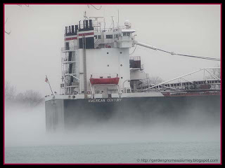 freighter in morning fog