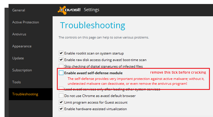 how to cancel trial avast