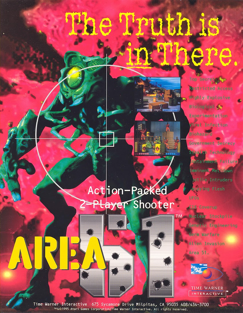 Area 51 arcade game portable flyer