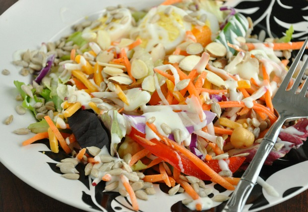 Salad with Sunflower Seeds Almonds and Veggies