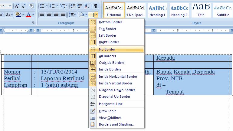 Cara membuat pengantar surat rapi di Word