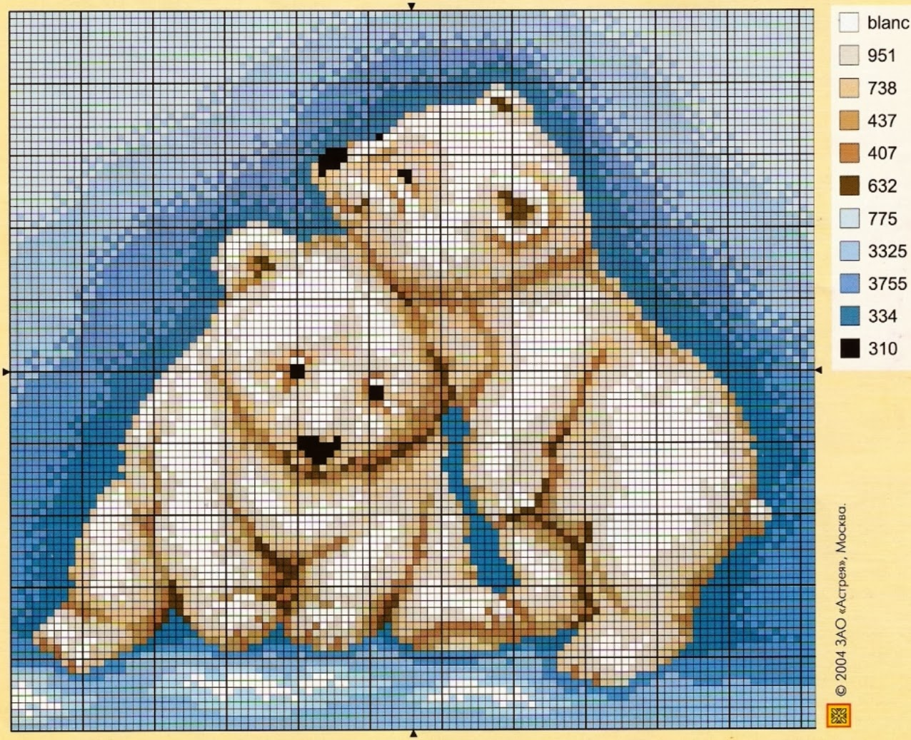 graficos de osos panda en punto de cruz Success
